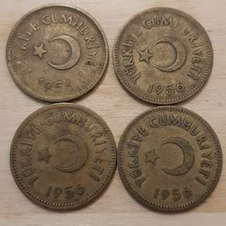 1956 Turkey 25 Kurus Coins