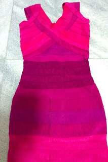 Herve Ledger Fuschia Pink Ombre Bodycon Sexy Dress