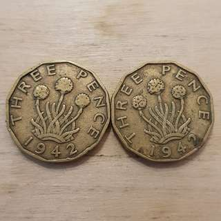 1942 Great Britain King George VI 3 Pence Coins
