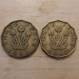 1943 Great Britain King George VI 3 Pence Coins