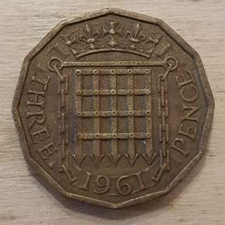 1961 Great Britain Queen Elizabeth II 3 Pence Coin