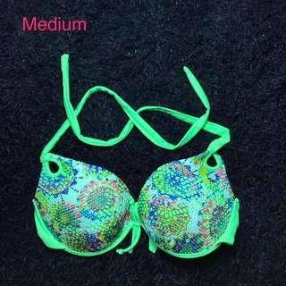 Neon floral bikini top