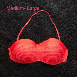 Laced halter orange bikini top