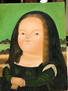 Framed Botero inspired art on canvas - Mona Lisa