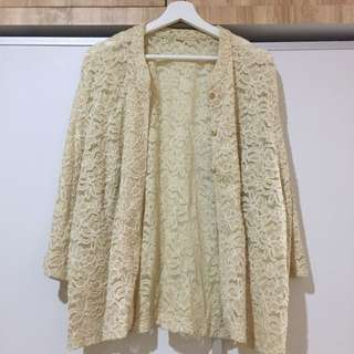Vintage Cream Lace Oversized Outer / Cardigan