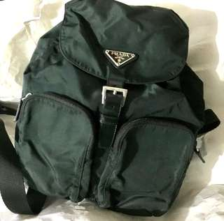 Authentic vintage Prada Dark Green Nylon Backpack Medium size