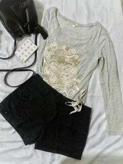 Gray long sleeve & black shorts