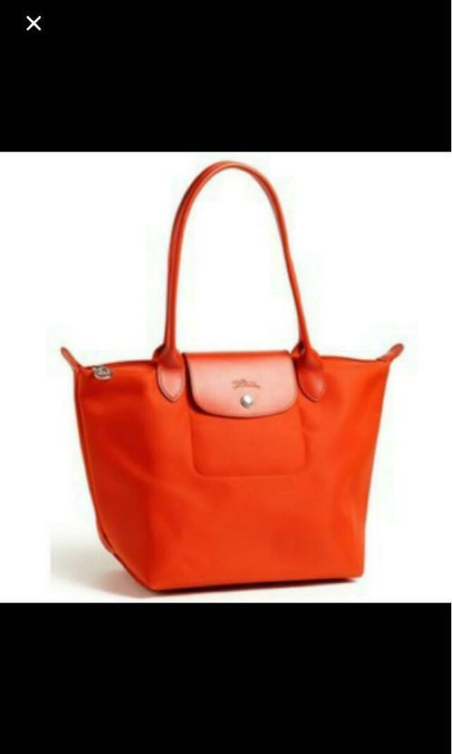 ed8967bae3 ⚀ Longchamp Planetes Large Long Handle Tote Bag Neo Orange