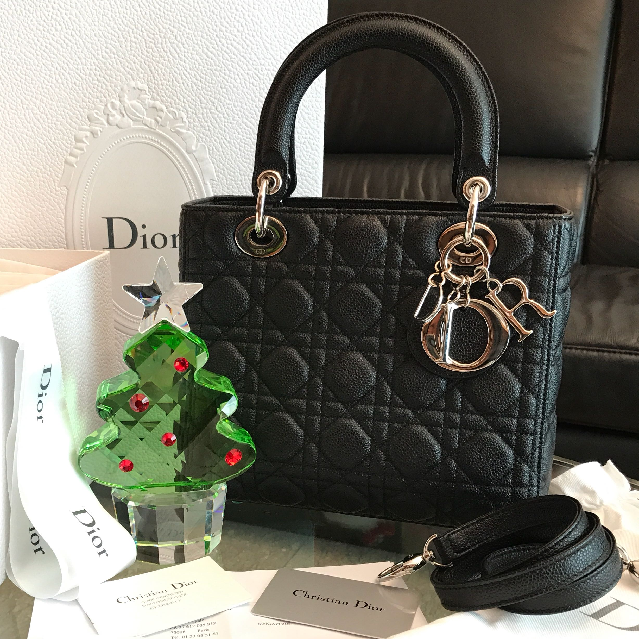 bb92453eac46cc Authentic Lady Dior bag medium in black caviar leather, Luxury, Bags &  Wallets, Handbags on Carousell