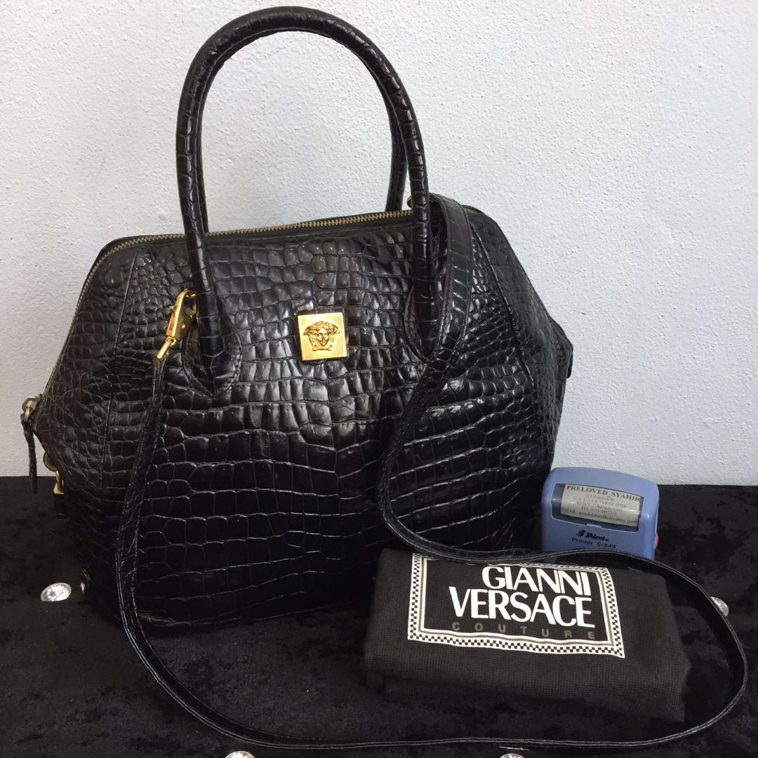 4dda430c87 Authentic Vintage GIANNI VERSACE Medusa Crocodile Skin Handbag ...