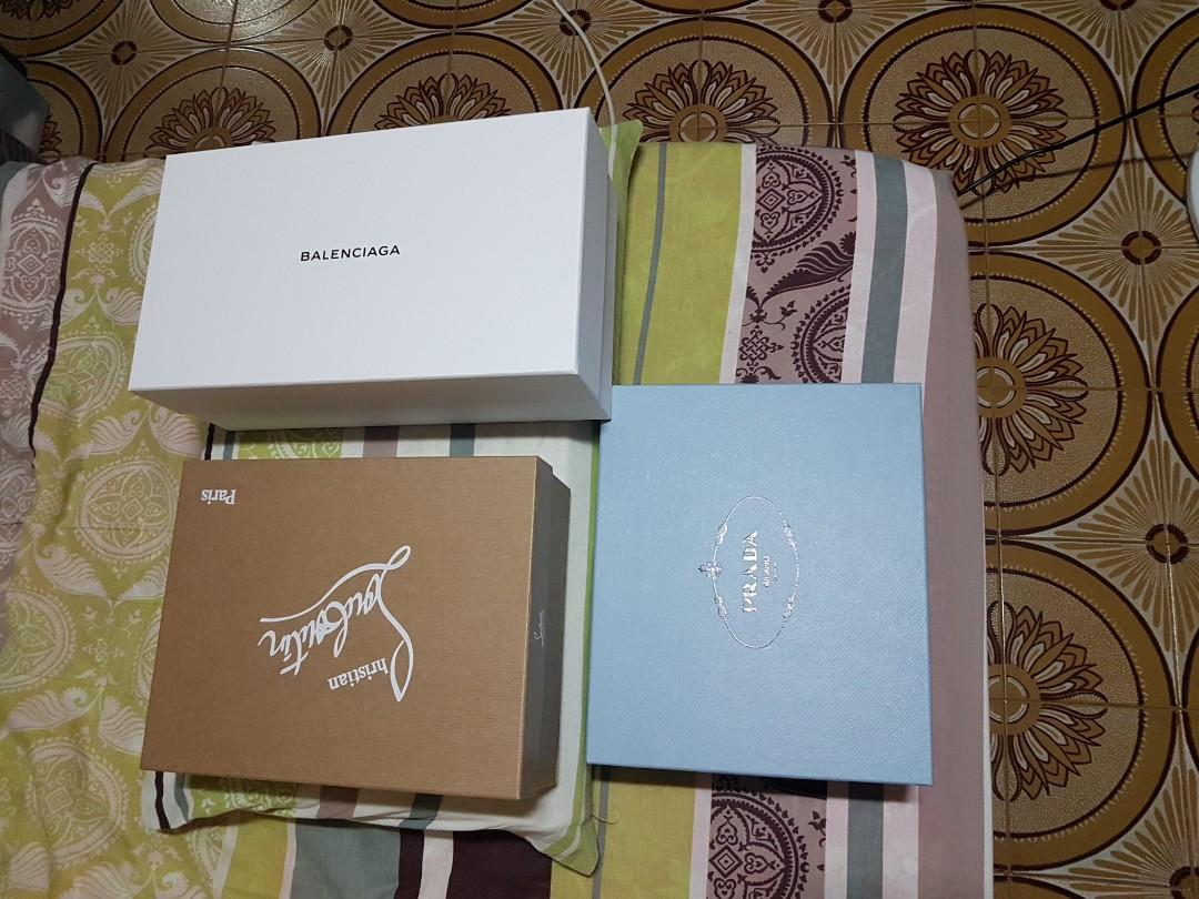Christian loubutin and Prada shoe box