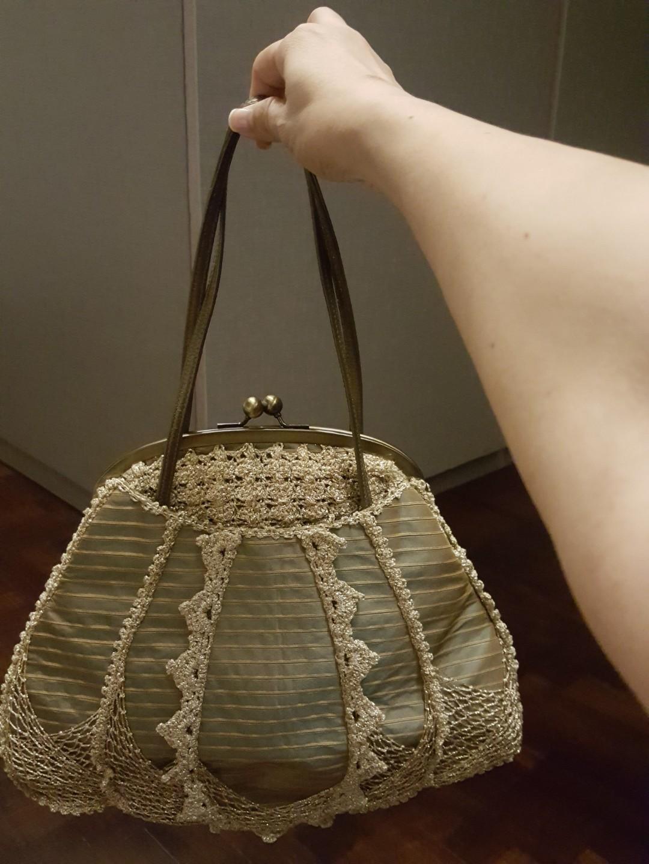 69acf94f92 Designer Gold lace with stripe duchess satin fabric shoulder bag ...