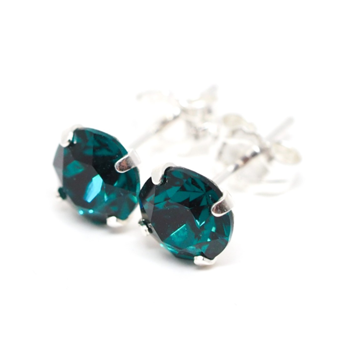 Emerald Crystal Sterling Silver Simple Earrings Swarovski Ear Studs Womens Mens 6mm Round Single Pair Men S Fashion Accessories On