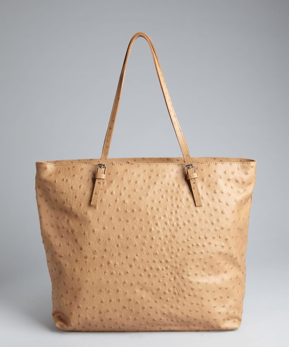 0568645aa4d5 FURLA Cammello Ostrich Embossed Leather New Shopper Tote (camel ...