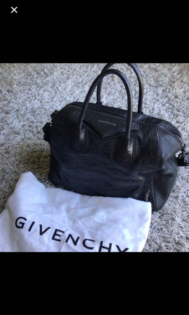Givenchy Antigona black croc leather embossed medium duffel bag ... 85f67cf41188e