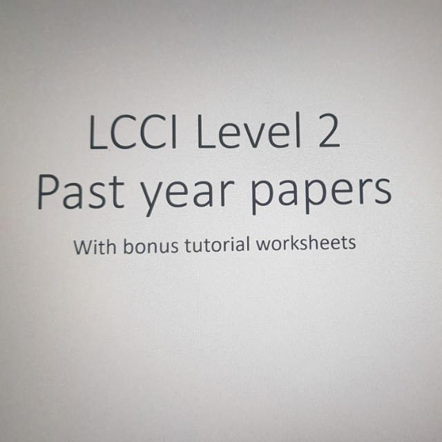 Lcci Level 2 Accounting Exam Papers With Answers Books