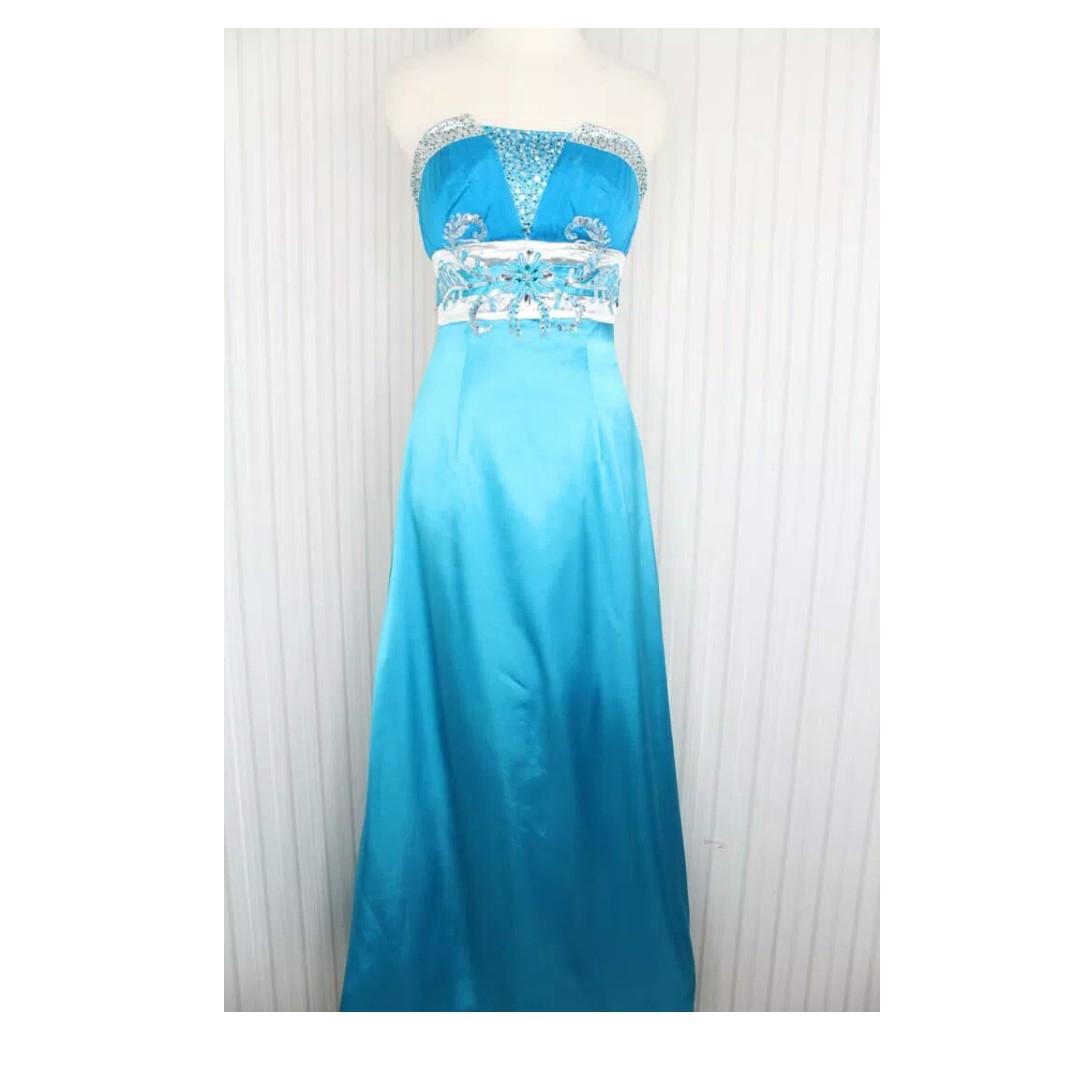 Long Dress Gaun Pesta Warna Biru Muda Kode 5530 Olshop Fashion