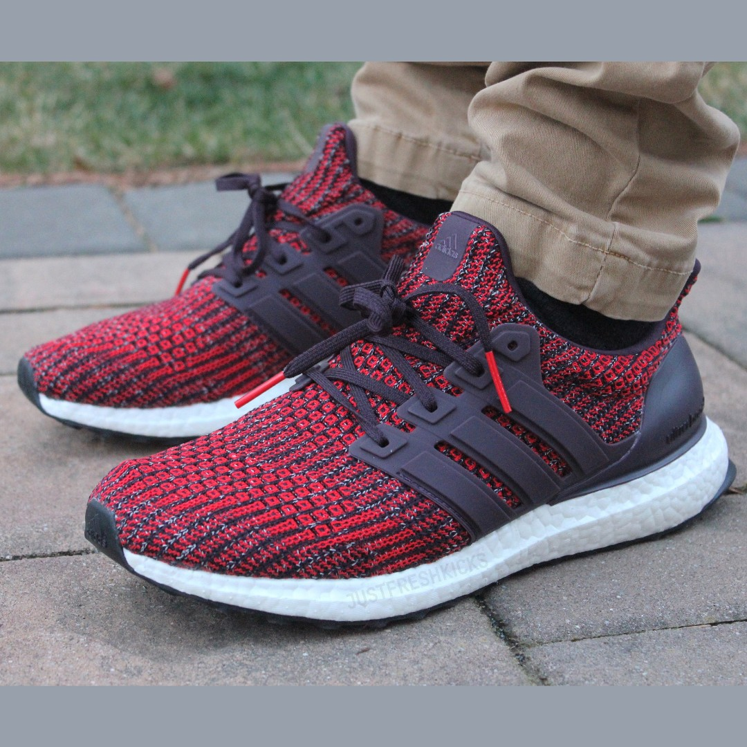 premium selection 6ade9 9b3b4 PO) Adidas Mens Ultra Boost 4.0 Red Burgundy, Men's Fashion ...