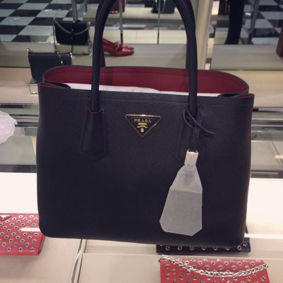 d518eb80177 Prada Saffiano Cuir Double Bag, Luxury, Bags & Wallets, Sling Bags ...