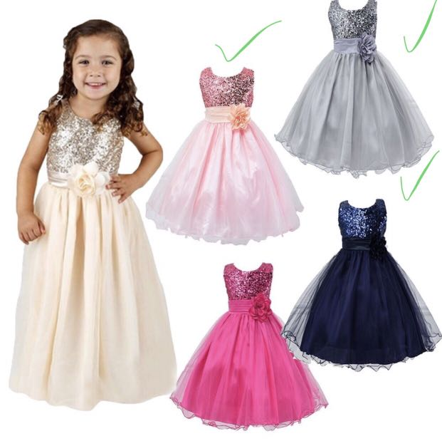 b047daafc1a6 Princess Dress Flower Girl Kids Bridesmaid Tulle Party Formal Sequin ...