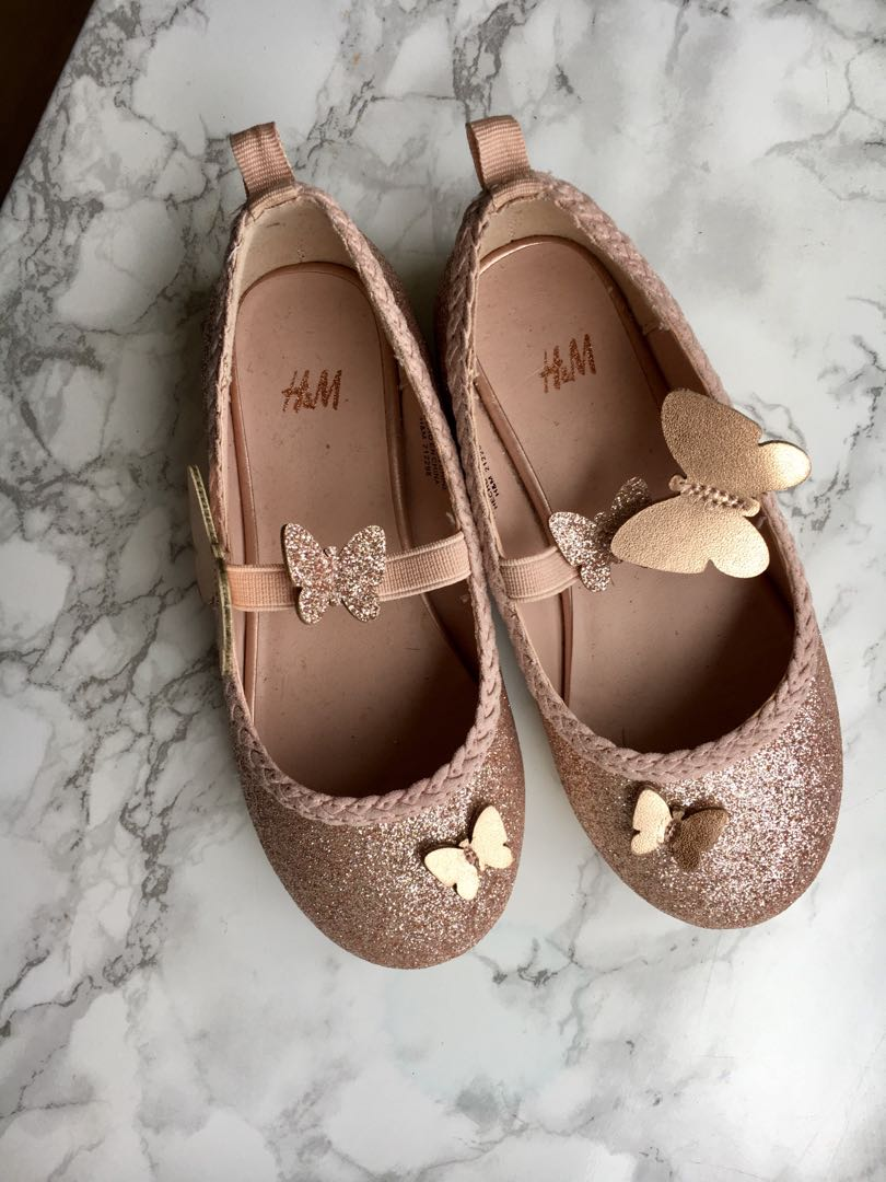 Rose gold butterfly flats
