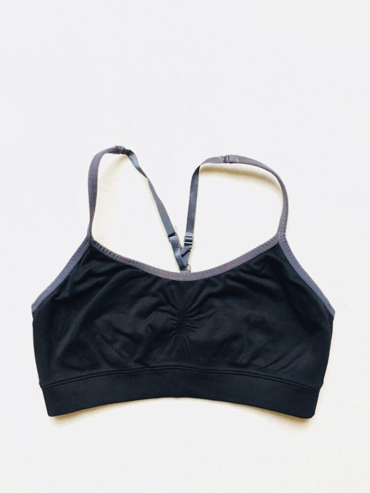 843bfa46f4570 Simple Strappy Black Sports Bra