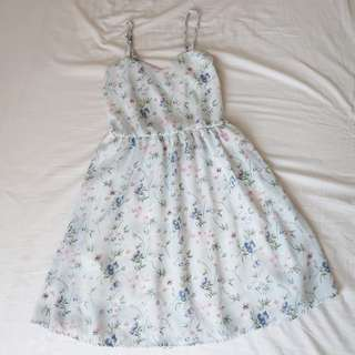 Baby blue pastel floral strap summer dress