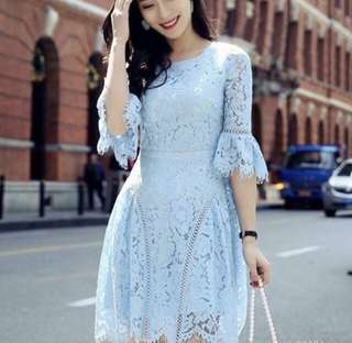 Brand New Pastel Blue Lace Dress