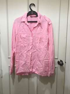 Zara Pink Polo with Pocket Details