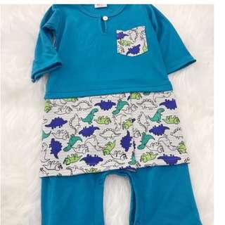 Baju Melayu Rompers  9-24 bulan ( Blue with Dinosaurs Sampin)