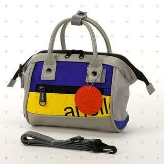 【預購】日本 | anello(564807):PU+皮革!90S風*手提單肩背包(尺寸:垂直16×寬23×角板9厘米/重量:310克)_免運。