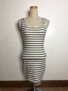 Forever 21 body fit stripped dress