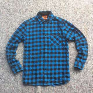 UNIQLO MENS CHECK AND COLOR FLANNEL SHIRT 1984 BLUE BLACK