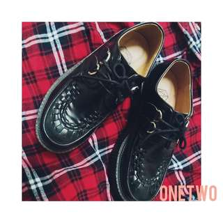 🚚 40碼 厚底鞋 英倫鞋 針織交叉鞋