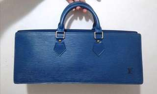 LV triangle hand bag blue epi leather '95 with dustbag
