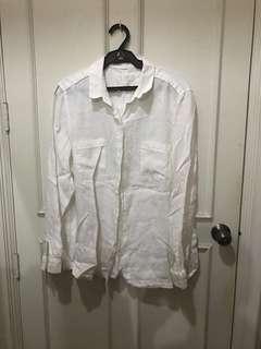 M&S White Linen Polo 3XL