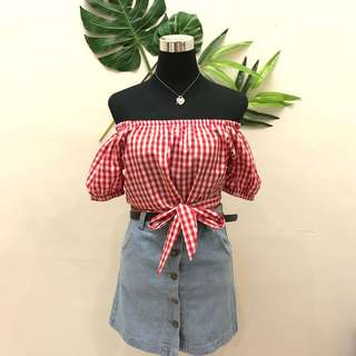 Red checkered off shoulder
