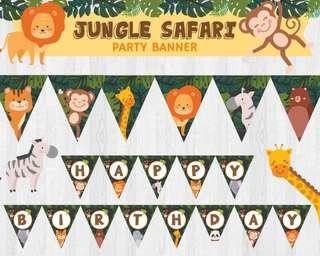 Animal Safari/ Jungle Safari/ Zoo Birthday Party Banner