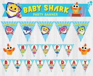 PinkFong Baby Shark Birthday Party Banner