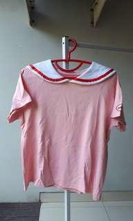 Sailor Top Korea Vintage Atasan Pelaut Pink