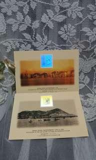香港郵票全息圖明信片两張(1997年前出品)