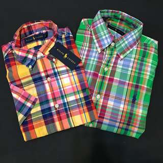 🚚 Ralph Lauren polo 短袖 格子 襯衫 s號 170/92A