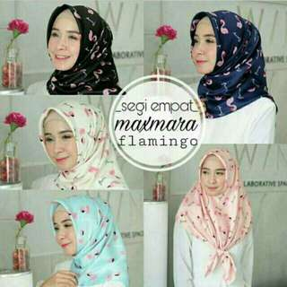 Hijab segiempat premium motif bangau / segiempat maxmara motif flamigo...