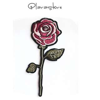 Bn rose Embroidered iron on patch