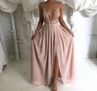 Pink Sexy Long Backless Dress