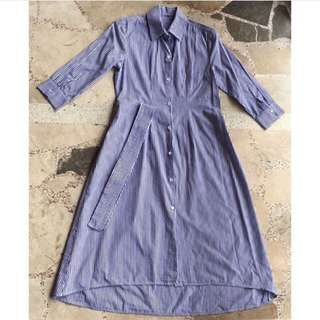 Pinstripe Shirt Dress (comes with belt)