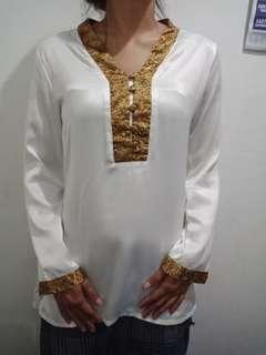 Baju panjang putih gold