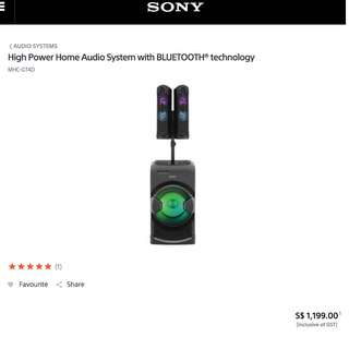 Sony MHC-GT4D High Power Home Audio System with BLUETOOTH® technology