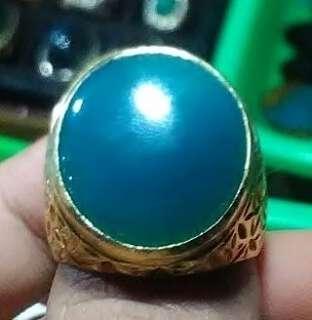 Cincin emban silver ring size 8 + batu Natural Bacan Doko majiko biru kristal galian lawas kwalitas premium dim. 18*18*7