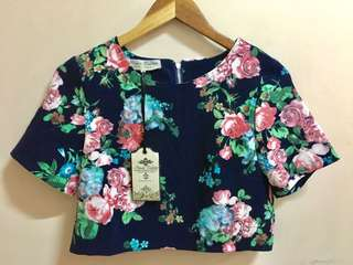 Navy Blue Floral Crop Top Brandnew